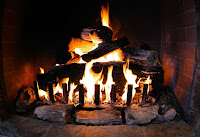 Image of a fire in a fireplace