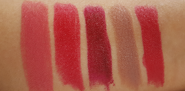 Swatches:  Avon Mark - The Bold Lipstick - Review - Rapid Rose - Berry Bold - Bold Bordeaux - Bare Impact - Ruby Shock