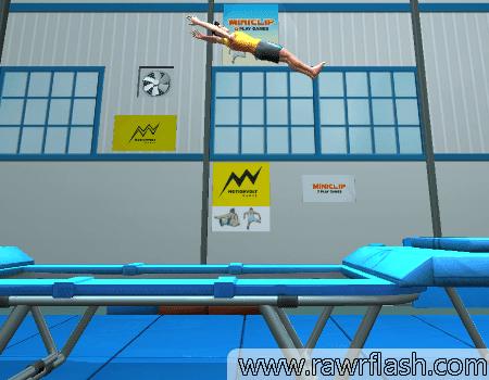 Jogo de pular em uma cama elástica, trampolim