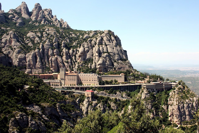 A mountain view of the Benedictine Monastery and basilica at Montserrat, Catalonia, Spain