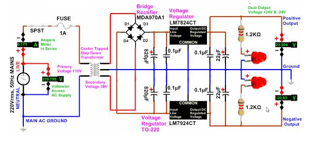 الدائرة الالكترونية لمصدر تغذية بجهد مستمر -24 و+24 فولت