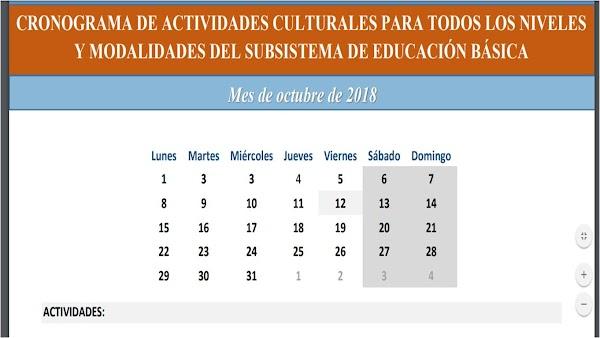 CRONOGRAMA DE ACTIVIDADES CULTURALES PARA TODOS LOS NIVELES Y MODALIDADES DEL SUBSISTEMA DE EDUCACIÓN BÁSICA