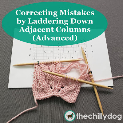 Learn how to fix mistakes in your knitting by laddering down columns of stitches and rework them following a pattern or chart.