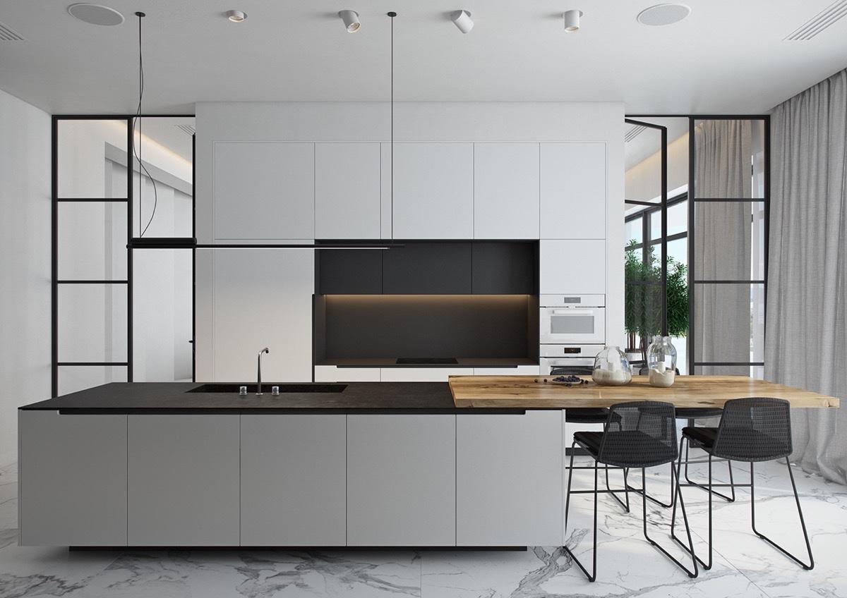 40 Desain Dapur Mewah Bernuansa Hitam Putih Rumah Minimalis