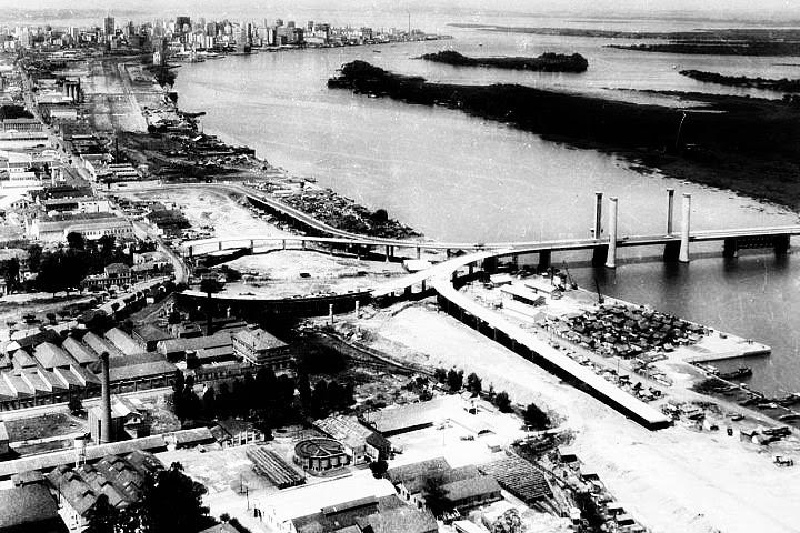 Ponte Móvel do Guaíba - construção, 1955