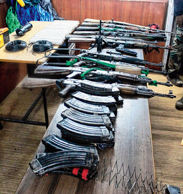Police claimed Arms seized from camp near Little Rangeet river