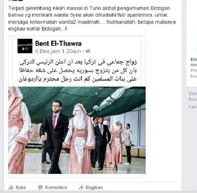 Hoax pernikahan massal di Turki yang diselenggarakan oleh Erdogan, padahal photo tersebut adalah nikah massal di Palestina.