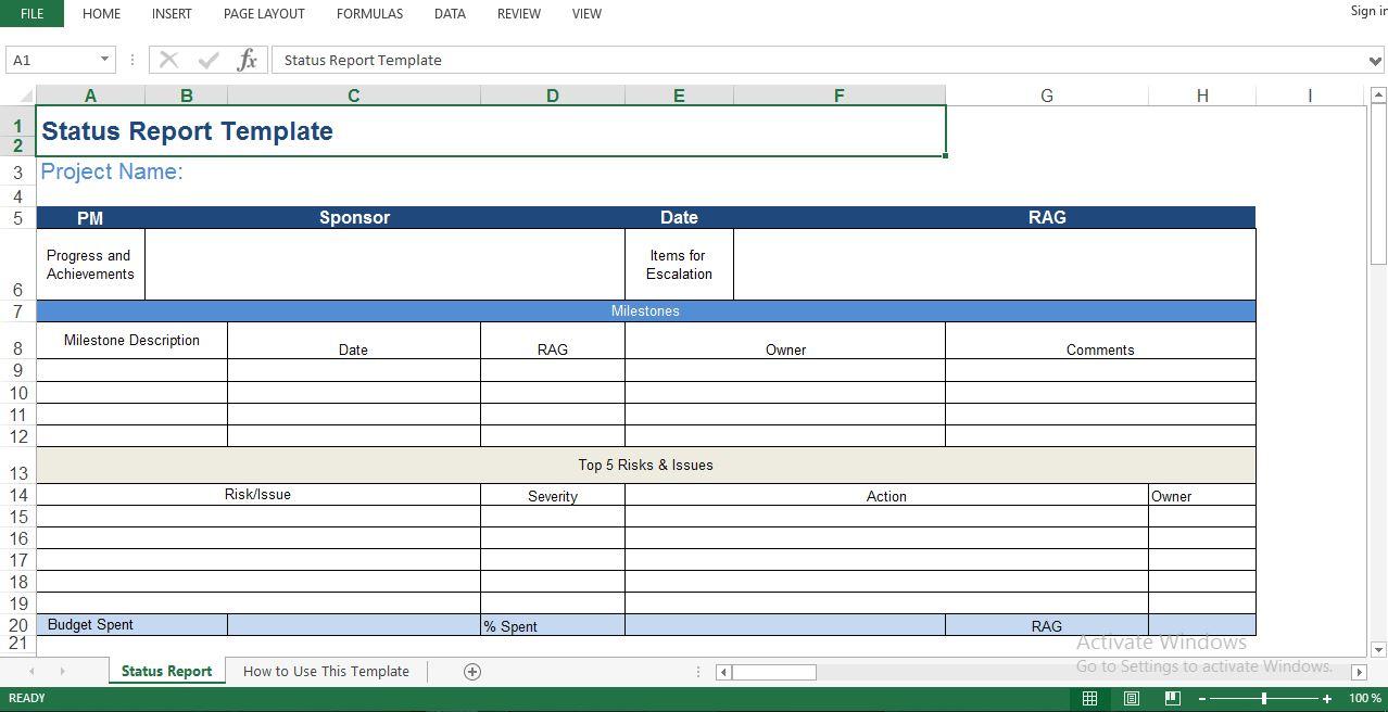 Status report template – Status Report Template