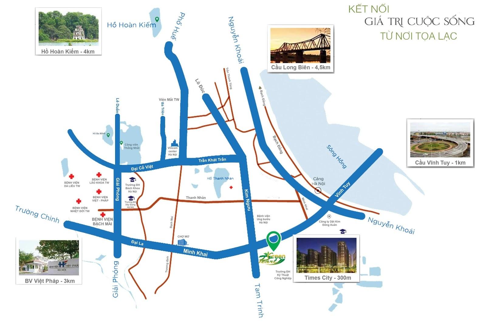 Liên kết vùng của dự án chung cư Green Pearl Minh Khai