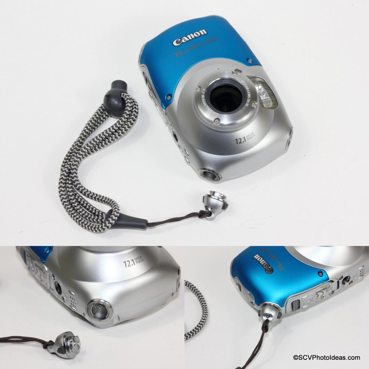 Canon PowerShot D10 Camera hand strap mounting procedure