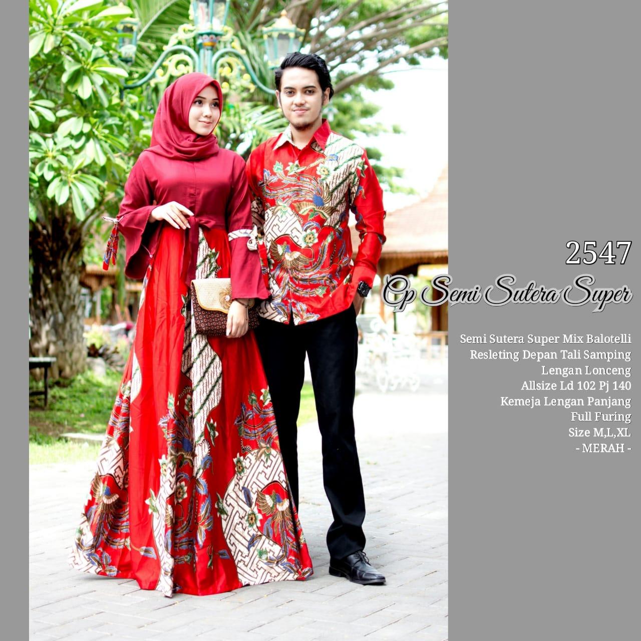 Baju Batik Couple Model Gamis Semi Sutera Super Lengan Lonceng