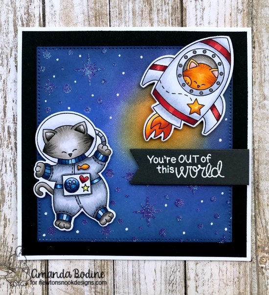 Cats in Space Card by Amanda Bodine | Cosmic Newton Stamp Set and Starfield Stencil by Newton's Nook Designs #newtonsnook