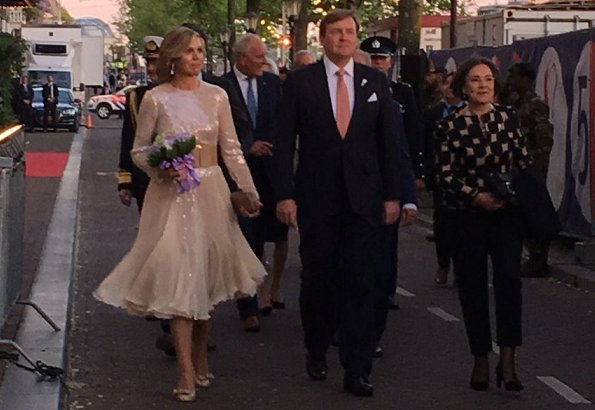 Queen Maxima wore Claes Iversen dress from Couture Fashion SS2018 collection and she wore Salvatore Ferragamo pumps at National Liberation Day 2018