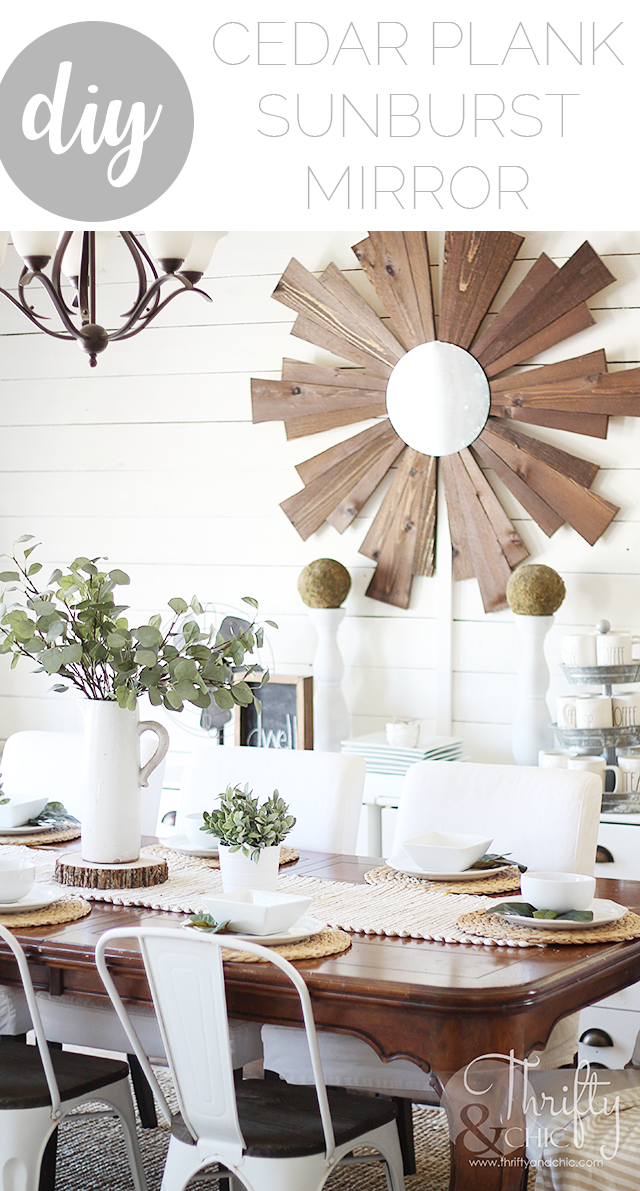 DIY wood sunburst mirror made from cedar planks. DIY farmhouse wall decor and decorating ideas