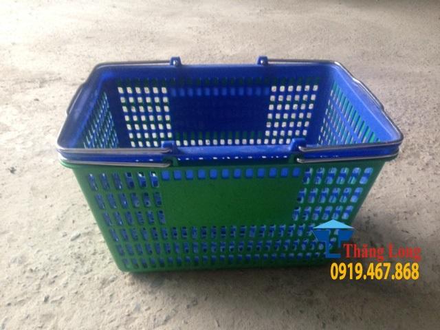 Giỏ hàng xách tay siêu thị màu xanh lá cây, xanh pepsi, đỏ