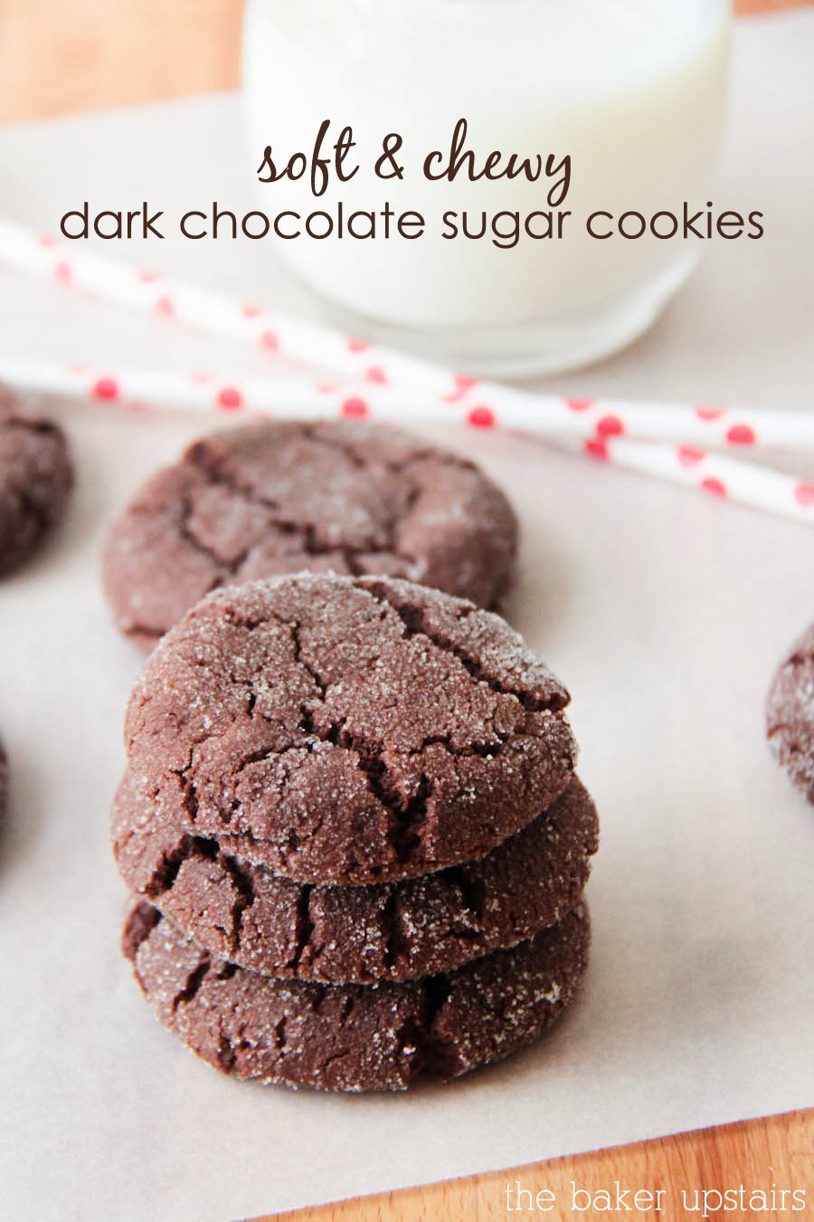 These soft and chewy dark chocolate sugar cookies are so rich and full of chocolate flavor!