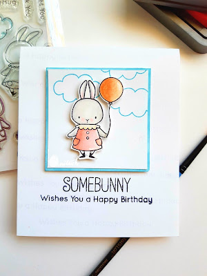 MFT stamps somebunny, bunny card, somebunny, birthday card, card by ishani, quillish
