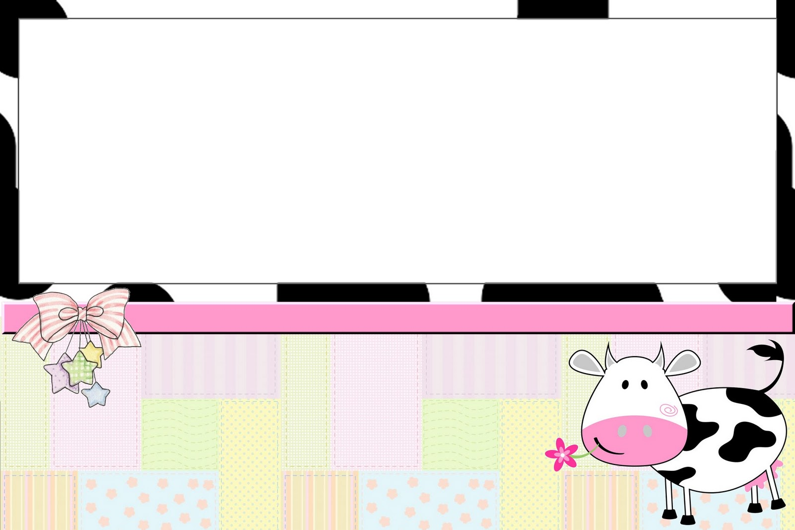picture about Printable Cow Pattern called Cow and Patchwork Totally free Printable Invites. - Oh My Fiesta