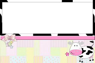 Cow and Patchwork   Free Printable Invitations, Labels or Cards.