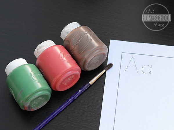 green, red, and brown washable paint plus free a is for apple printable to practice writing letter a