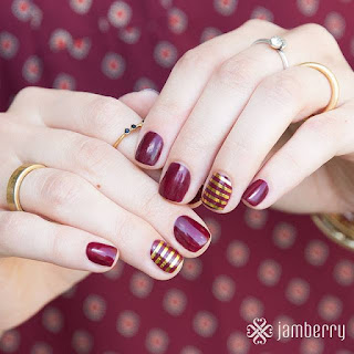 #BlackCherryJN (which comes with the TruShine System Kit) and Gold Stripe on clear wrap accent nails. TruShine Gel at home gel system by Noel Giger, Jamberry Independent Consultant