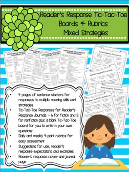 http://www.teacherspayteachers.com/Product/Readers-Response-Sentence-Starters-Tic-Tac-Toe-Boards-Mixed-Strategies-332703