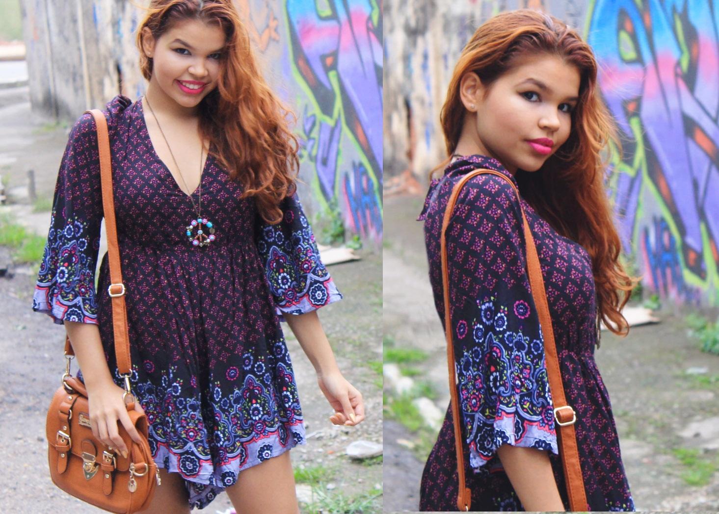 Fashion blogger, shein, look hippie chic, look macaquinho soltinho, macaquinho roxo com detalhes rosa, look com acessórios em tons terrosos, bota marrom, bolsa marrom, blogueira ruiva look,look boho, recebidos, parceria, lojinha da china.