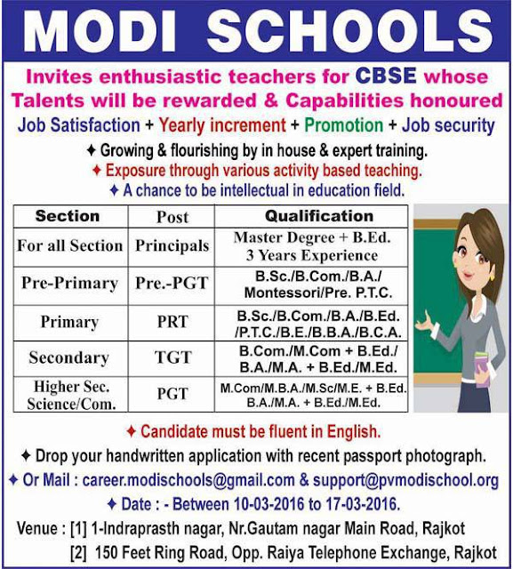 Modi School Rajkot Various Recruitment 2016