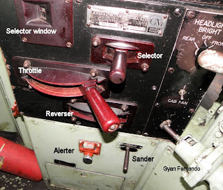 Controls on GM EMD G12 loco No 626 Montreal