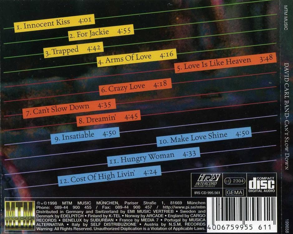 DAVID CARL BAND - Can't Slow Down (1998) back