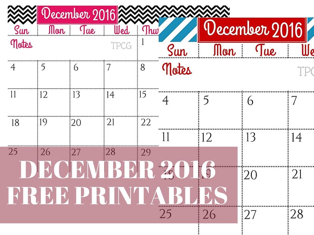 December Free Printables