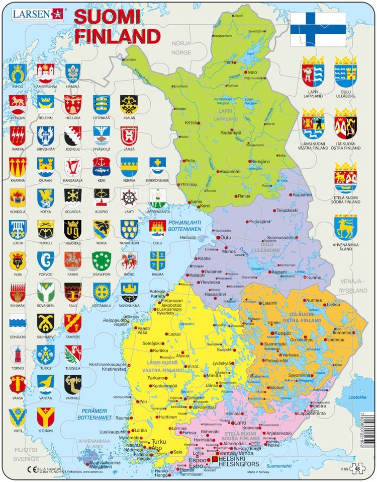 Mapa Político da Finlândia