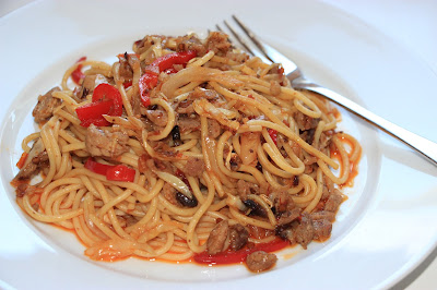 Chinese food - Pasta fried with pork and spicy fermented bean paste