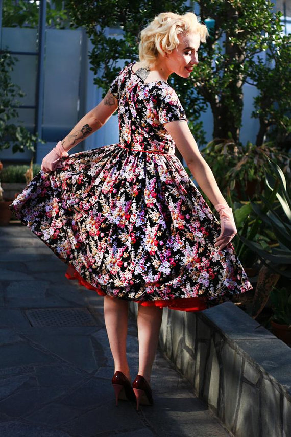Cherise Design vintage style full skirt floral print 1950s Yvonne Dress