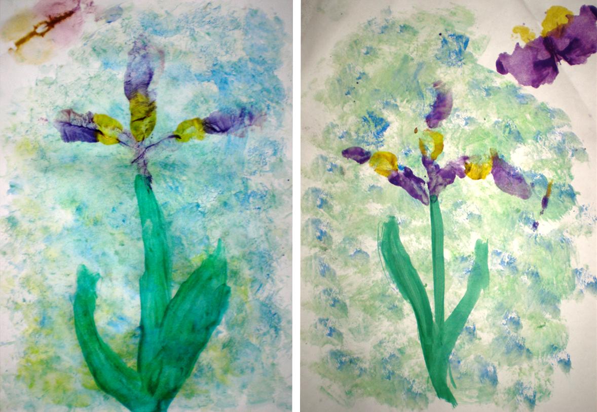 Iris: tamponare + amprentarea mâinii (iris) + pensulaţie + tehnica dublului (fluture)