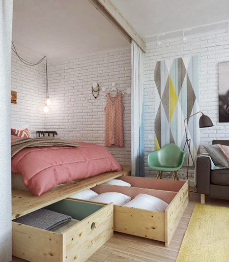 Tarima con almacenaje para apartamentos pequeños