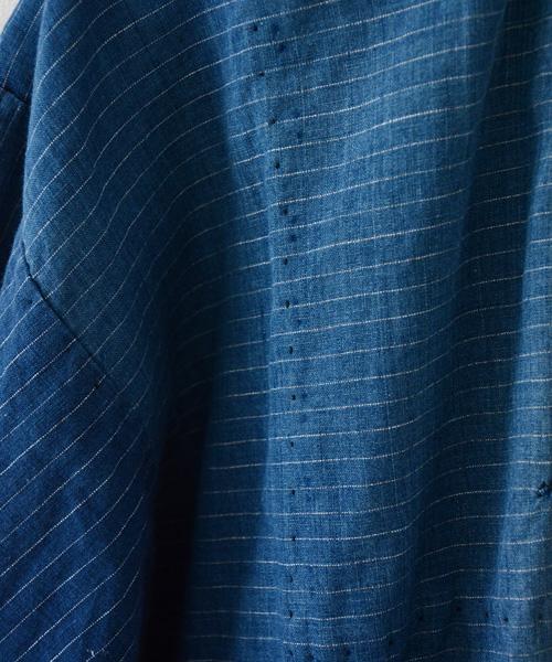 野良着 FUNS 藍染 ジャパンヴィンテージ 縞模様 アンティーク着物 Noragi Jacket Japanese Vintage Aizome Indigo Dyed Farming Work Wear