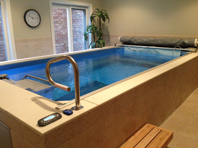A triathlete's Performance Endless Pools swimming machine for at-home swimming training