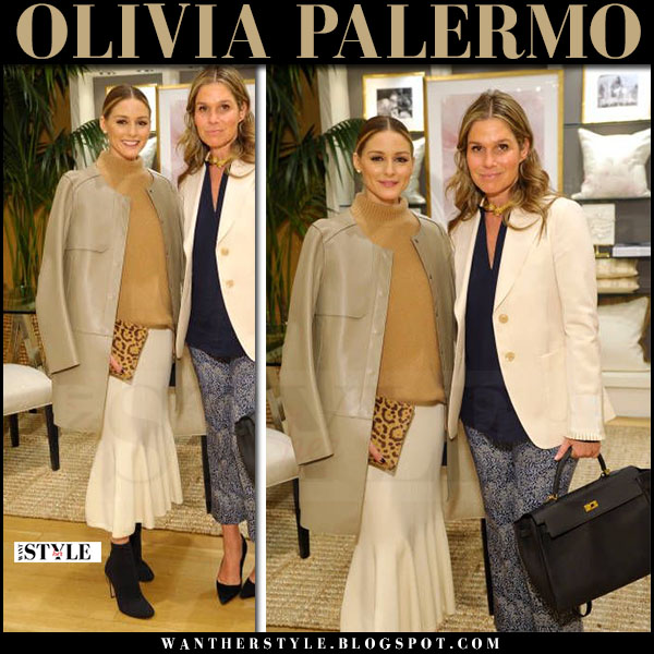 Olivia Palermo in beige leather coat, white skirt and leopard aerin clutch what she wore april 2017