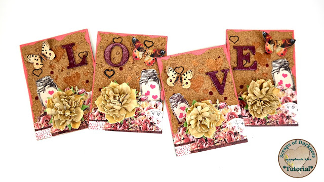 Video Tutorial for Love Theme Cork Artist Trading Cards by Dana Tatar for Scraps of Darkness - February Our Story Kit