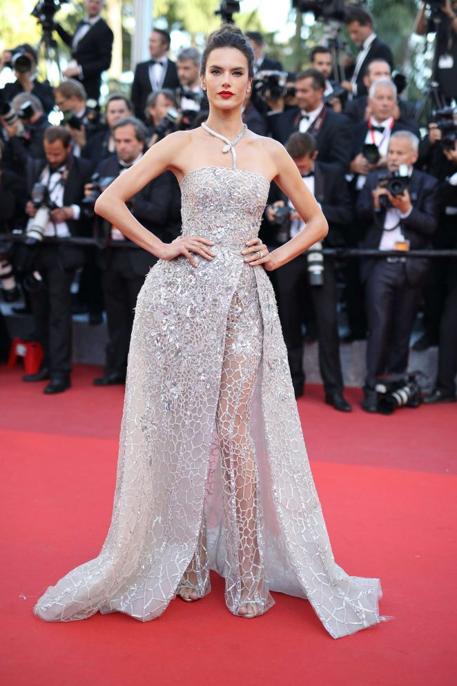Alessandra Ambrosio smoulders in a semi sheer dress at 'The Last Face' Cannes premiere