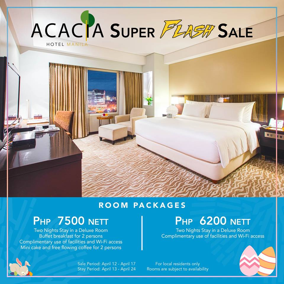 e92336357655e Check out Acacia Hotel's Holy Week Flash Sale! Stay for two nights in one  of the deluxe rooms for as low as P6,200 nett from April 13 to April 24,  2019!