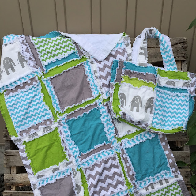 Matching Rag Quilt and Diaper Bag with Elephants blue, gray, green, for baby boy blanket
