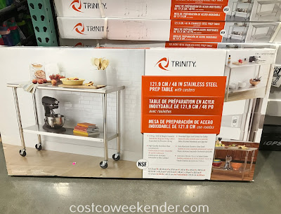 Costco 1049995 - Make food prep for a meal easier with the Trinity Stainless Steel Prep Table