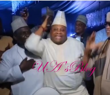Pure Excitement As Dancing Senator, Adeleke Takes The Floor At Dangote's Daughter's Wedding (Video)