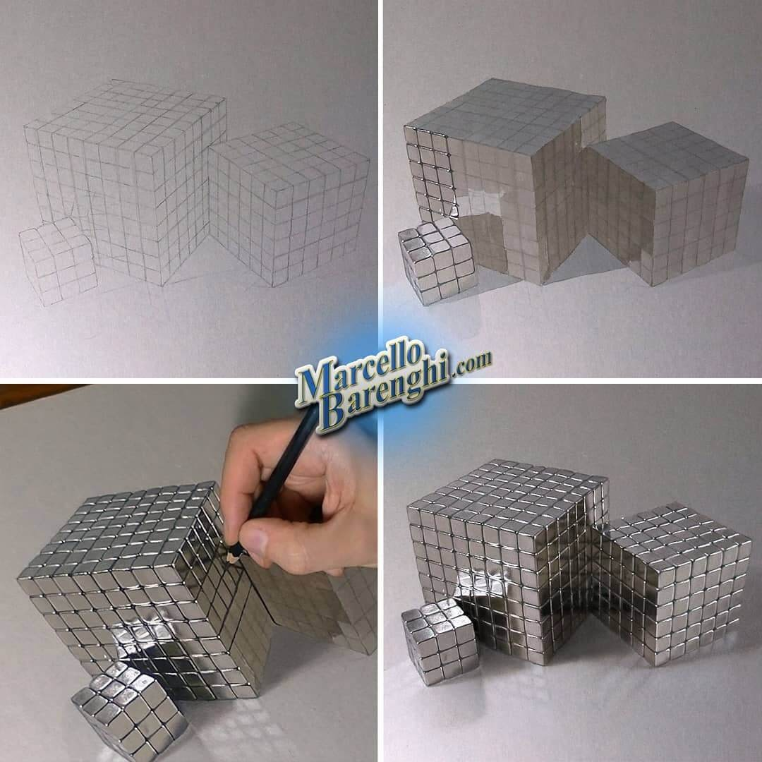 02-Metal-Rubik-s-cube-Marcello-Barenghi-Drawings-that-Mirror-Reality-www-designstack-co