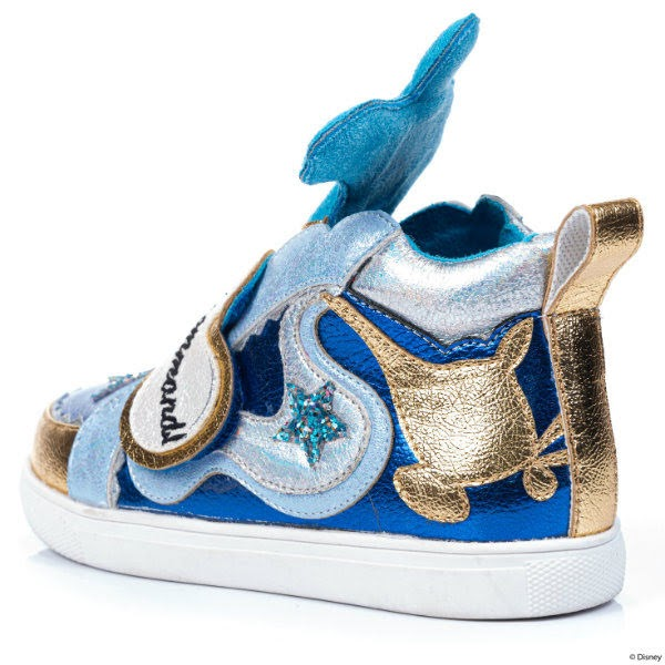 back side view of metallic trainers with gold magic lamp applique