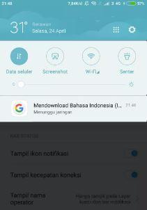 cara memisahkan toggle dan notifikasi di Xiaomi