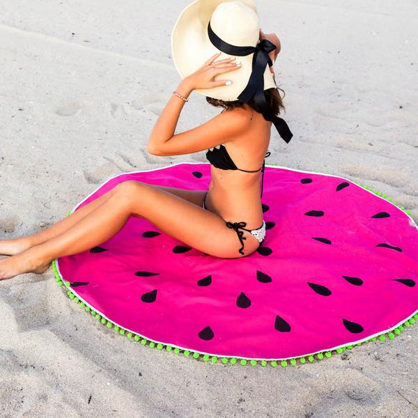 telo mare rotondo telo mare rotondo estate 2017 roundie beach  come indossare il telo mare rotondo telo mare rotondo stampa anguria