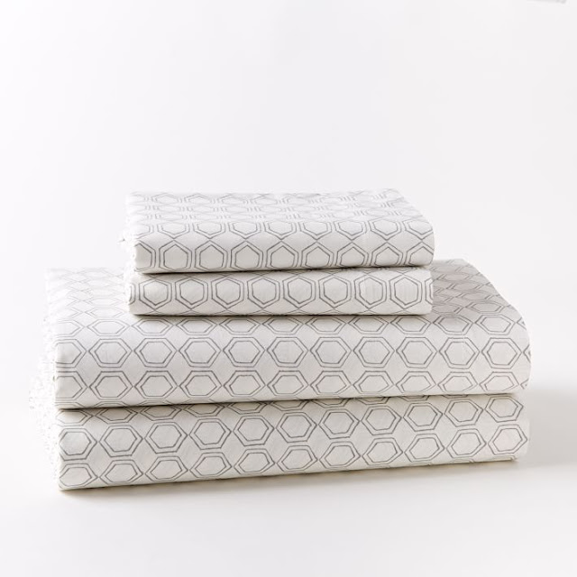 Gray White Geometric Print Sheets